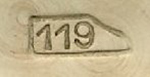 An example of a N°119 stamped hammer head hallmark