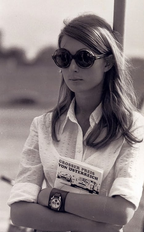 Nina Rindt wearing her UG 'Compax' at a race-track