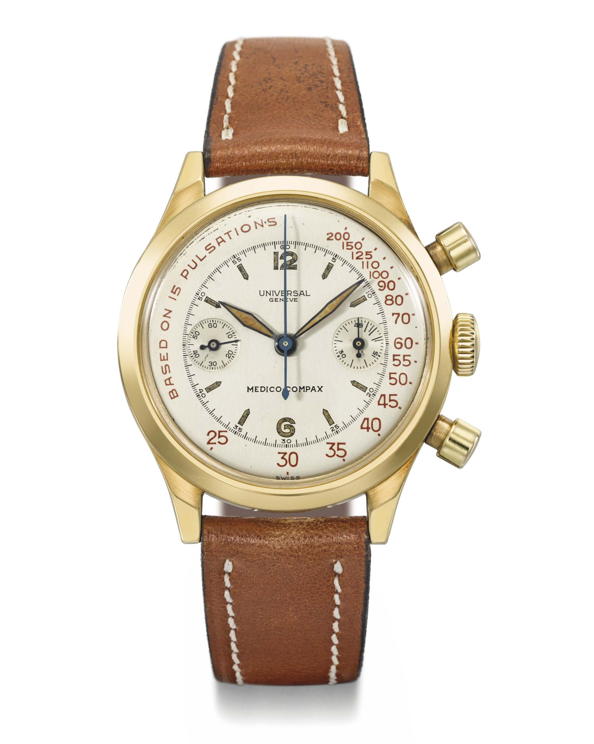 A gold Medico-Compax ref. 12482 with red pulsations scale by @Christies